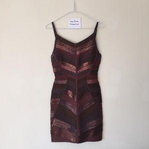 Herve Leger Metallic Copper Bandage Dress